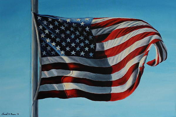 American Flag Poster featuring the painting America The Beautiful by Daniel W Green