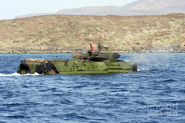 Marines Poster featuring the photograph Amphibious Assault Vehicle Crewmen by Stocktrek Images
