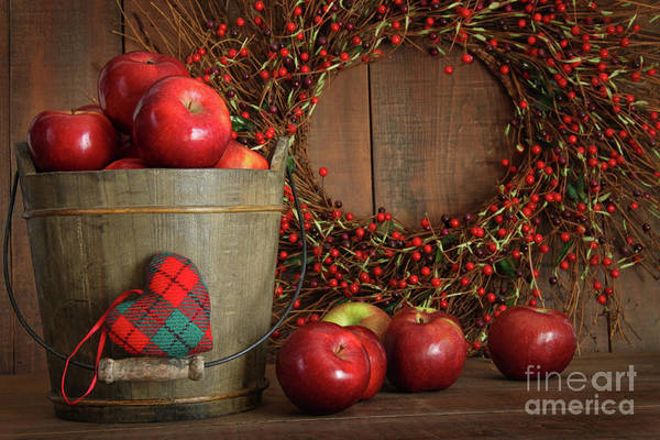 Apple Poster featuring the photograph Apples In Wood Bucket For Holiday Baking by Sandra Cunningham