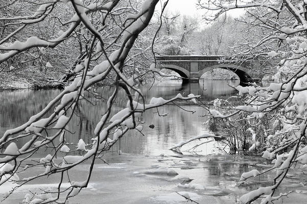 Horizontal Poster featuring the photograph Arch Bridge Over Frozen River In Winter by Enzo Figueres