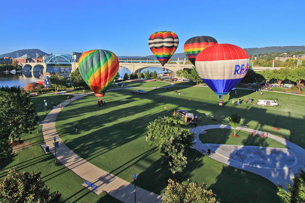 Balloons Poster featuring the photograph Balloons In Coolidge Park by Tom and Pat Cory