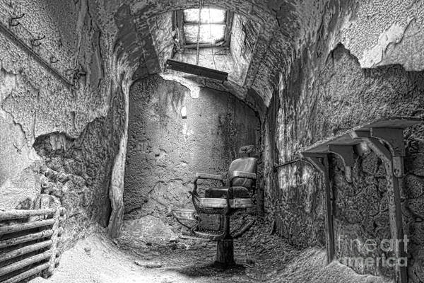 Eastern State Penitentiary Poster featuring the photograph Barber - Chair - Eastern State Penitentiary - Black And White by Paul Ward