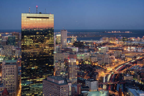 Horizontal Poster featuring the photograph Boston By Night. by Linh H. Nguyen Photography