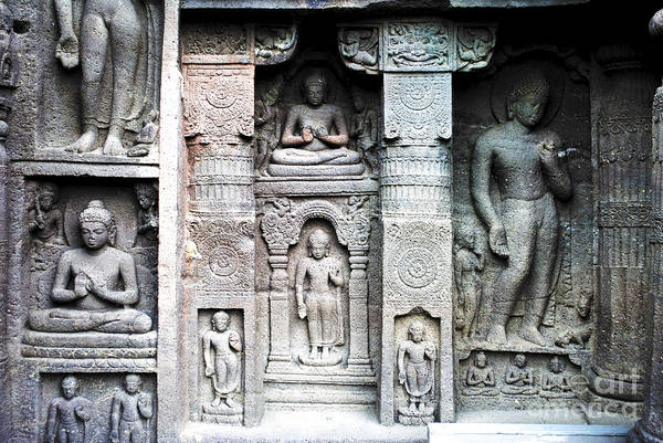 Caves Poster featuring the photograph Buddha Carvings At Ajanta Caves by Sumit Mehndiratta