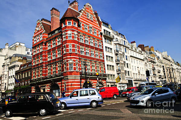 London Poster featuring the photograph Busy Street Corner In London by Elena Elisseeva
