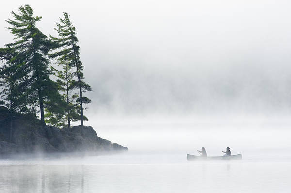 Canoe Poster featuring the photograph Canoeing Through Fog On Lake Of Two by Mike Grandmailson