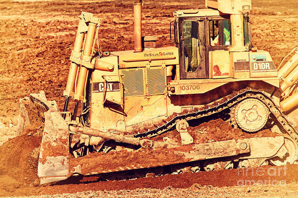 Retro Poster featuring the photograph Cat Bulldozer . 7d10945 by Wingsdomain Art and Photography