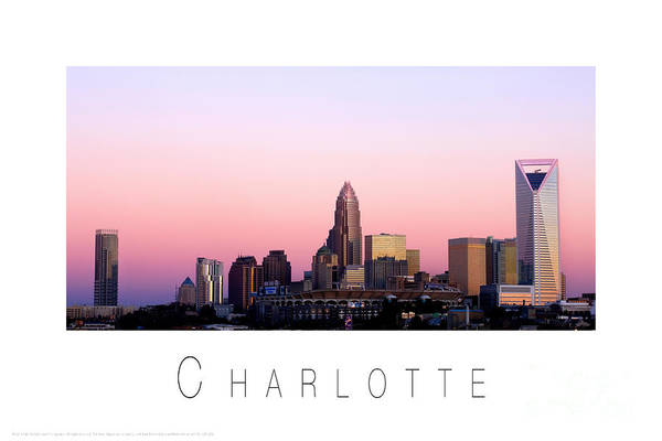 Charlotte Nc Photography Poster featuring the photograph Charlotte Nc Skyline Pink Sky by Patrick Schneider
