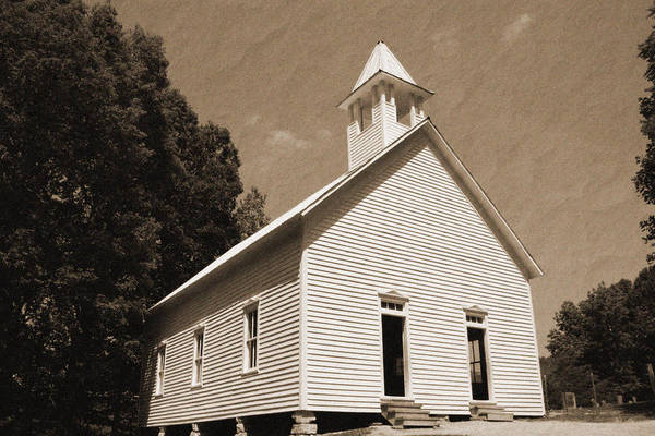Vintage Style Poster featuring the photograph Church In The Mountains by Barry Jones