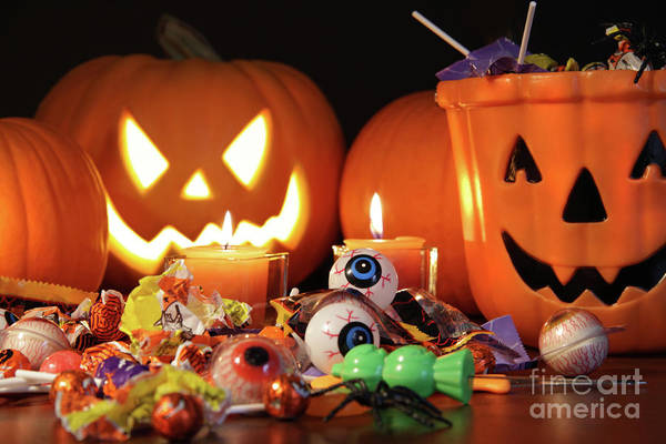 Abundance Poster featuring the photograph Closeup Of Candies With Pumpkins by Sandra Cunningham