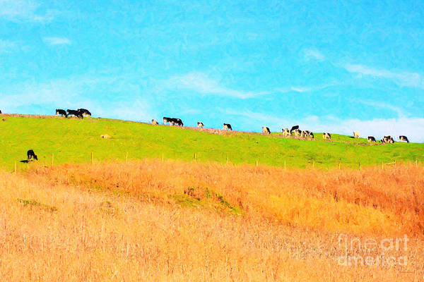 Cow Poster featuring the photograph Cows On A Hill . 40d3430 . Painterly by Wingsdomain Art and Photography