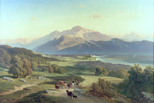 Austrian Landscape; Mountain Range; Mountainous; Alps; Castle; Pastoral; Architecture; Panorama; Alpine Poster featuring the painting Drover On Horseback With His Cattle In A Mountainous Landscape With Schloss Anif Salzburg And Beyond by Josef Mayburger