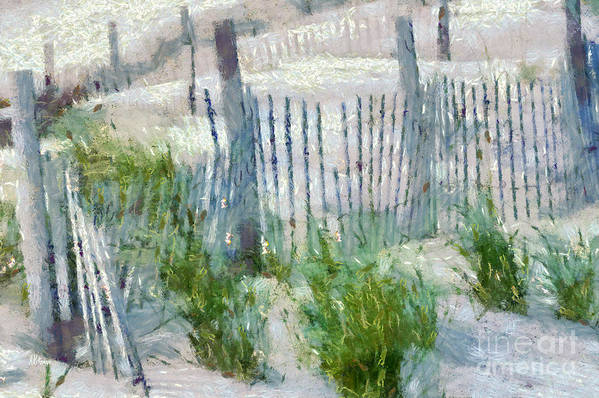 Fences Poster featuring the painting Dune Fences At Cape Hatteras National Seashore by Anne Kitzman