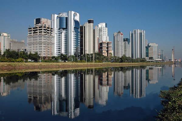 Horizontal Poster featuring the photograph Edifícios Na Marginal Pinheiros (são Paulo) by Photo Antonio Larghi (Fotografia)