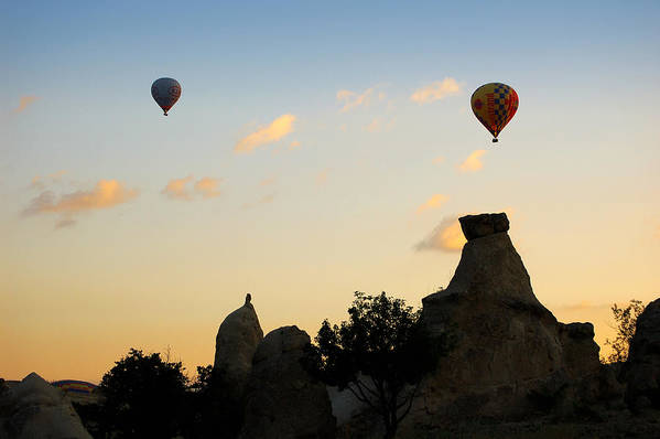 Fairy Chimneys Poster featuring the photograph Fairy Chimneys And Balloons by RicardMN Photography