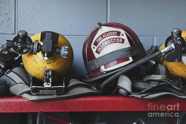Accomplishment Poster featuring the photograph Fireman Helmets And Gear by Skip Nall