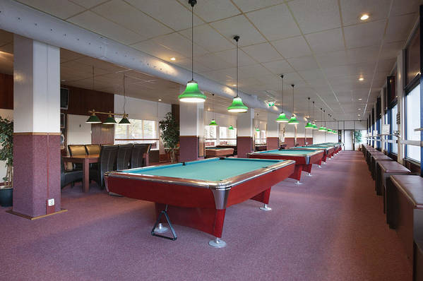 Empty Poster featuring the photograph Five Pool Billiards Tables In A Row by Corepics