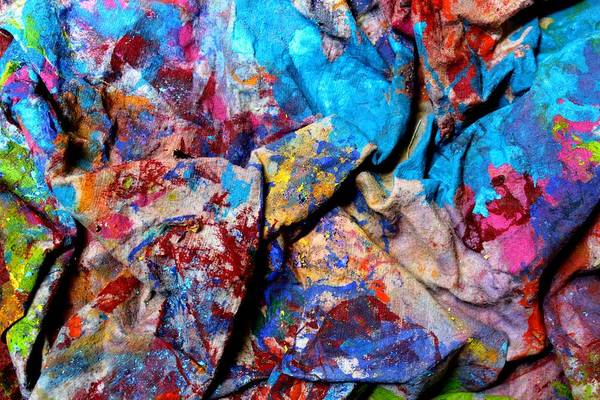Abstract Poster featuring the mixed media Found Art Studio Rag by John Nolan