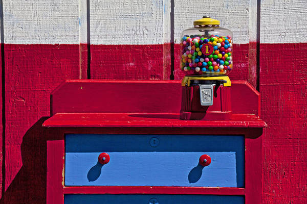 Gum Ball Machine Red Desk Poster featuring the photograph Gum Ball Machine On Red Desk by Garry Gay