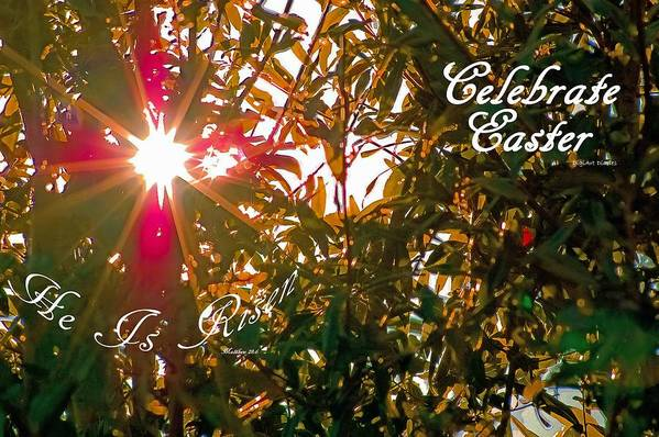 Easter Poster featuring the photograph He Is Risen Easter Greeting by DigiArt Diaries by Vicky B Fuller