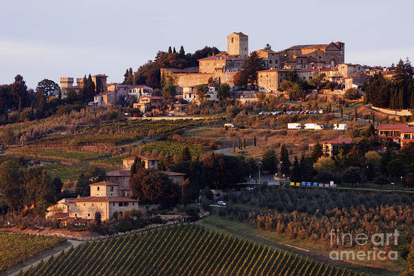 Agriculture Poster featuring the photograph Hill Town Of Panzano At Dusk by Jeremy Woodhouse