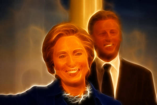 Lee Dos Santos Poster featuring the photograph Hillary Rodham Clinton - United States Secretary Of State - Bill Clinton by Lee Dos Santos