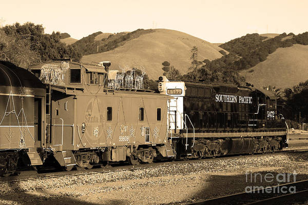 Black And White Poster featuring the photograph Historic Niles Trains In California.southern Pacific Locomotive And Sante Fe Caboose.7d10843.sepia by Wingsdomain Art and Photography