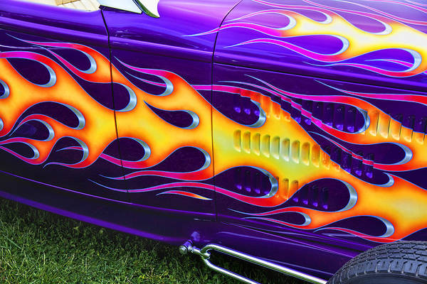 Hot Rod Custom Flames Car Poster featuring the photograph Hot Rod With Custom Flames by Garry Gay