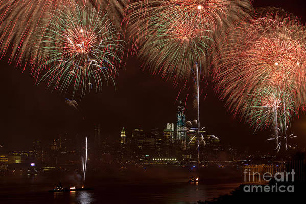 Clarence Holmes Poster featuring the photograph Hudson River Fireworks Xii by Clarence Holmes