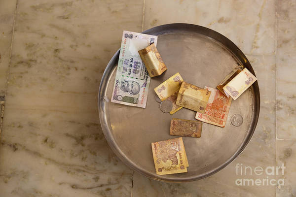 Begging Poster featuring the photograph Indian Money In A Dish by Inti St. Clair