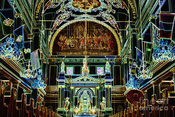 New Orleans Poster featuring the digital art Inside St Louis Cathedral Jackson Square French Quarter New Orleans Glowing Edges Digital Art by Shawn O'Brien