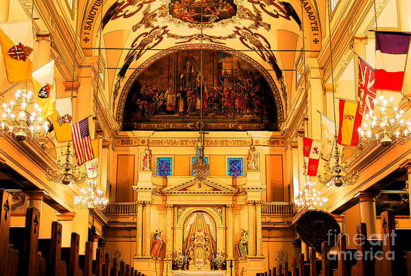 Travelpixpro New Orleans Poster featuring the digital art Inside St Louis Cathedral Jackson Square French Quarter New Orleans Ink Outlines Digital Art by Shawn O'Brien