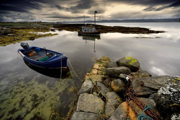 Short Poster featuring the photograph Islay, Scotland Two Boats Anchored By A by John Short