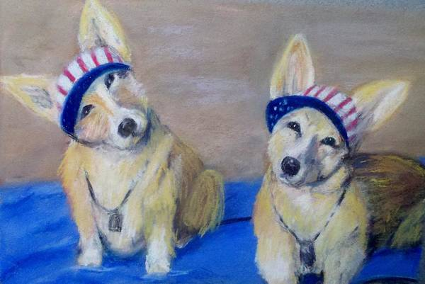 Dogs Poster featuring the painting Kipper And Tristan by Trudy Morris