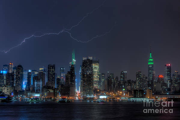Clarence Holmes Poster featuring the photograph Lightning Over New York City Ix by Clarence Holmes