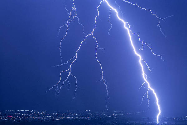 Storm Poster featuring the photograph Lightning Strike At Night Near Phoenix, Usa by Keith Kent