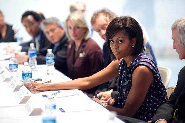 History Poster featuring the photograph Michelle Obama Attends A Meeting by Everett