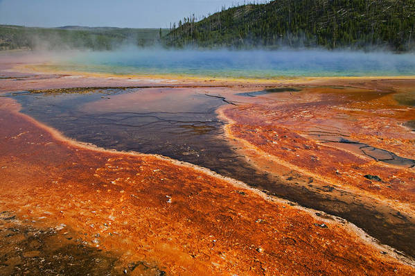 Middle Hot Springs Yellowstone National Park Poster featuring the photograph Middle Hot Springs Yellowstone by Garry Gay