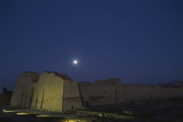 Moons Poster featuring the photograph Moon Over Medinet Habu, The Temple by Kenneth Garrett