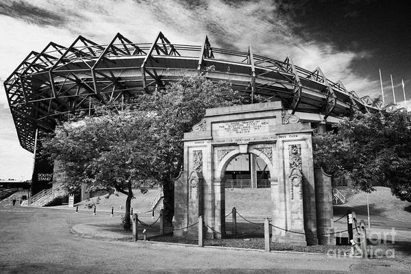 Murrayfield Poster featuring the photograph Murrayfield Stadium With War Memorial Arch Edinburgh Scotland by Joe Fox