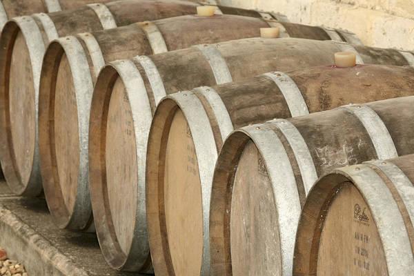 Horizontal Poster featuring the photograph Oak Wine Barrels In Castillion La Bataille, France by Steven Morris Photography