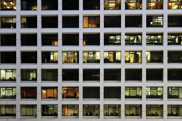 Horizontal Poster featuring the photograph Office Building At Night by Lars Ruecker
