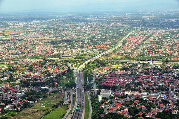 Horizontal Poster featuring the photograph Overview Of Jakarta. by TeeJe