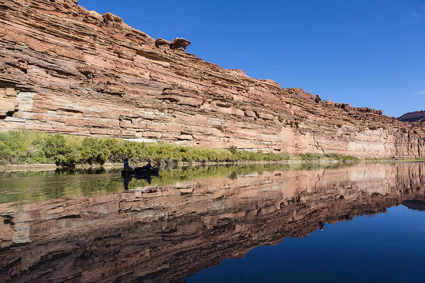 Arid Poster featuring the photograph Paddling The Green River by Tim Grams