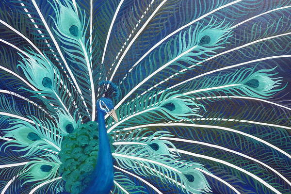 Peacock Poster featuring the painting Peacock by Estephy Sabin Figueroa