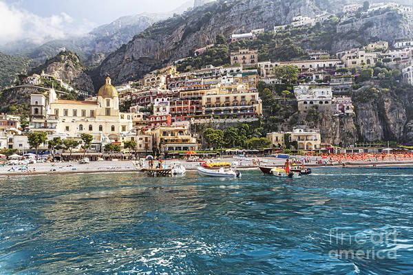 Positano Poster featuring the photograph Positano Seaside View by George Oze