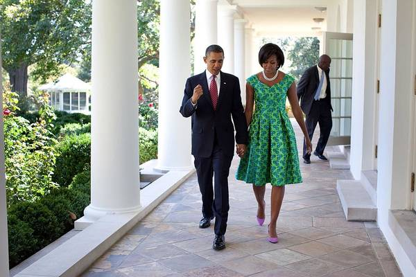 History Poster featuring the photograph President And Michelle Obama Walk by Everett