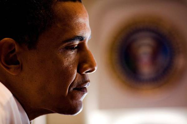 History Poster featuring the photograph President Barack Obama During An by Everett