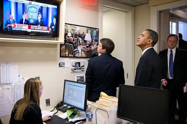 History Poster featuring the photograph President Barack Obama Watches Msnbc by Everett