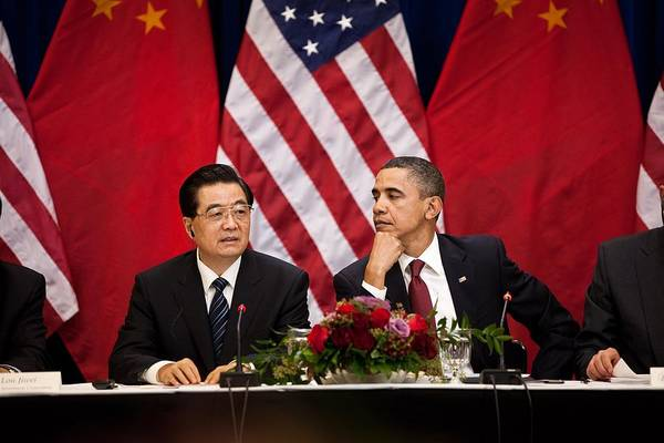 History Poster featuring the photograph President Obama And Chinese President by Everett